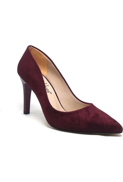Shop And Shoes 194-150785 Kadın Stiletto Bordo Süet