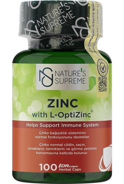 Nature's Supreme Zinc 15 Mg 100 Kapsül
