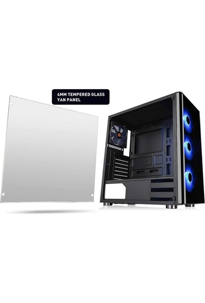 Thermaltake V200 TG 600W 80+ RGB Fanlı MidTower Oyuncu Kasa (CA-3K8-60M1WE-02)