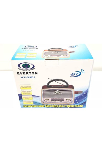 Everton Atasbey - Everton Vt-3101 Nostalji Şarjlı 3 Band Radyo Usb Sd Aux Mp3 Player