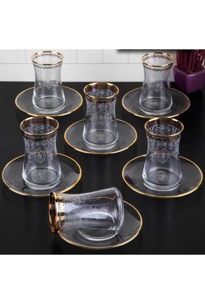 Pinkev 12 Parça Altın Yaldızlı 3D Çay Bardağı Seti