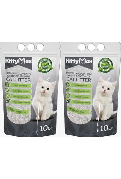 KittyMax 10 Litre Doğal Kokusuz Bentonit Kedi Kumu 2'li Set