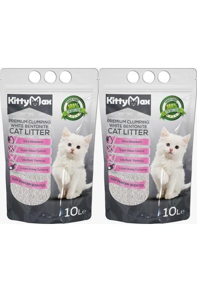 KittyMax 10 Litre Bebek Pudrası Kokulu Bentonit Kedi Kumu 2'li Set
