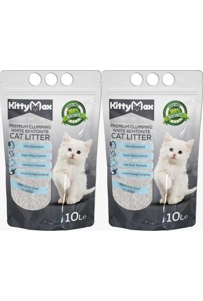 KittyMax 10 Litre Marsilya Sabunu Kokulu Bentonit Kedi Kumu 2'li Set