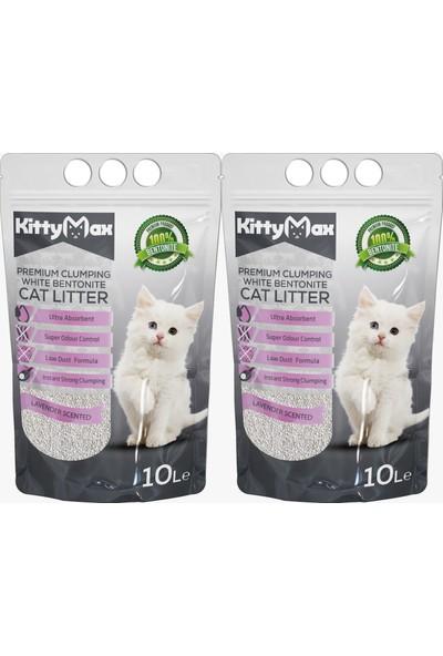 KittyMax 10 Litre Lavanta Kokulu İri Taneli Bentonit Kedi Kumu 2'li Set