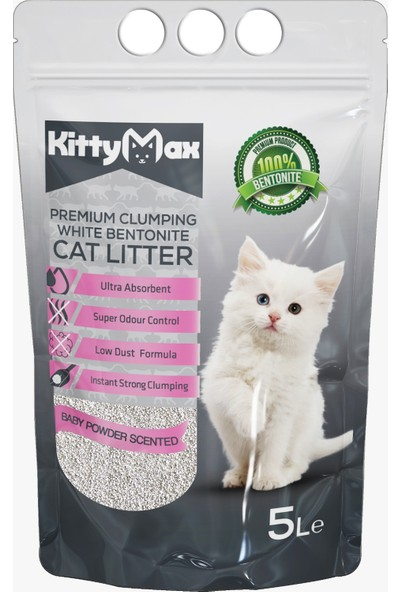 KittyMax 5 Litre Bebek Pudrası Kokulu Bentonit Kedi Kumu