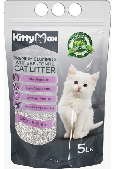 KittyMax 5 Litre Lavanta Kokulu İri Taneli Bentonit Kedi Kumu