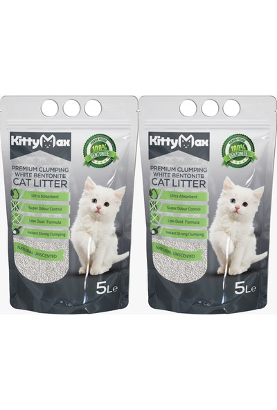 KittyMax 5 Litre Doğal Kokusuz Bentonit Kedi Kumu 2'li Set