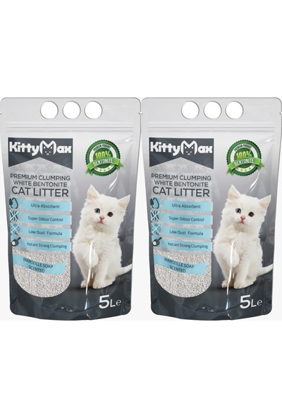 KittyMax 5 Litre Marsilya Sabunu Kokulu Bentonit Kedi Kumu 2'li Set