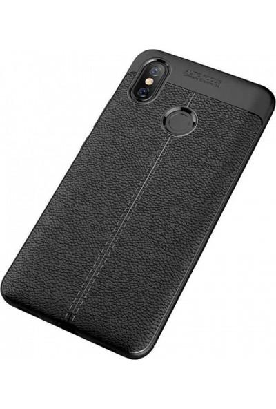 Aplus Xiaomi Mi 6X/A2 Deri Görünümlü Tam Koruma Niss Silikon Kılıf - Siyah