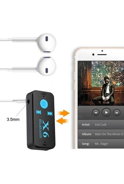 Case 4U Bluetooth Müzik Alıcısı 3.5 mm Aux Adaptör Araç Kiti 3in1 - Cyber AN-6999 X6