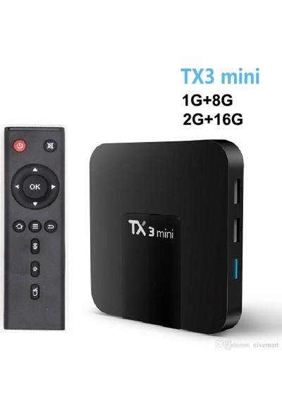 Case 4U TX3 Mini 4K TV Box - Android 7.1- 1GB Ram / 8 GB Hafıza