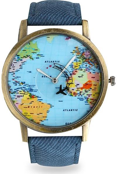 Jwl Dünya Haritası Desenli Uçak Figürlü Saniyeli Dünya Turu Unisex Kol Saati Mavi