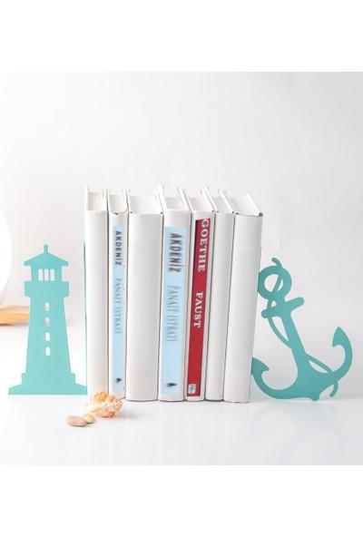 Simge Yapı Dekorasyon Deniz Feneri Figürlü Dekoratif Metal Kitap Tutucu