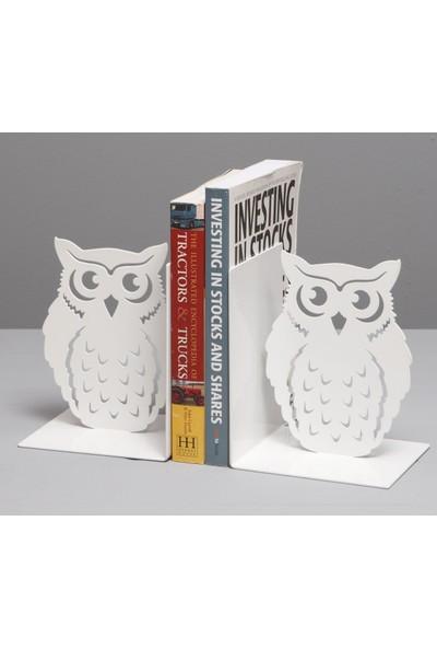 Simge Yapı Dekorasyon Beyaz Baykuş Figürlü Dekoratif Metal Kitap Tutucu