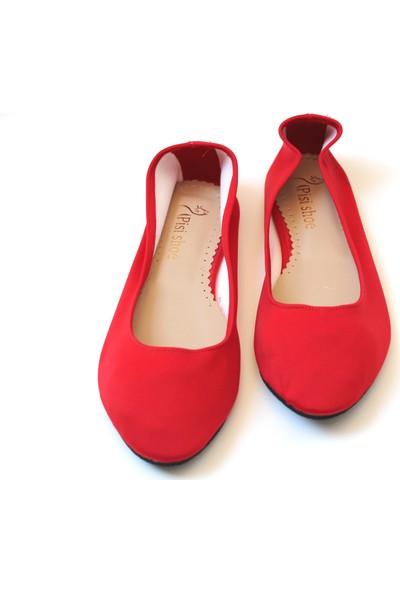 Pisi Shoe Kırmızı Katlanabilir Babet