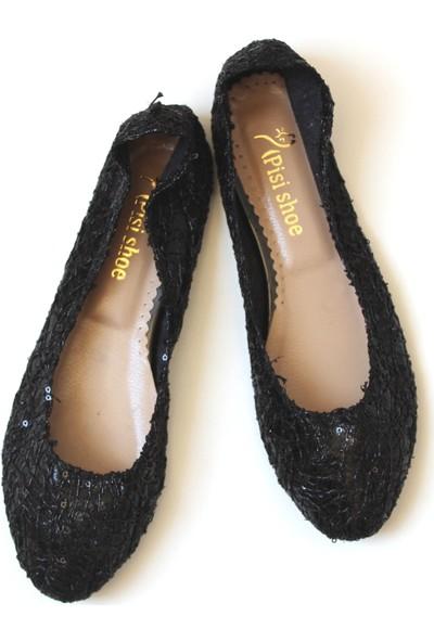 Pisi Shoe Pullu Siyah Katlanabilir Babet