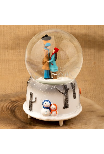 Saatick Müzikli Kar Küresi Kış Masalı Lamba Kar Sevgili Kız Erkek Figürlü Sevgiliye Hediye Yılbaşı 16 Cm