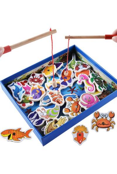 Piramigo Ahşap Balık Yakalama Oyunu Mıknatıslı 32 Adet Marine Biological Cognition Fishing Game