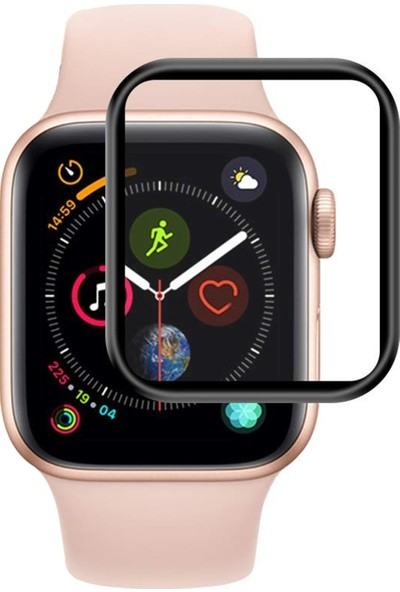 Microsonic Apple Watch Series 4 44mm Tam Kaplayan Temperli Cam Full Ekran koruyucu Siyah