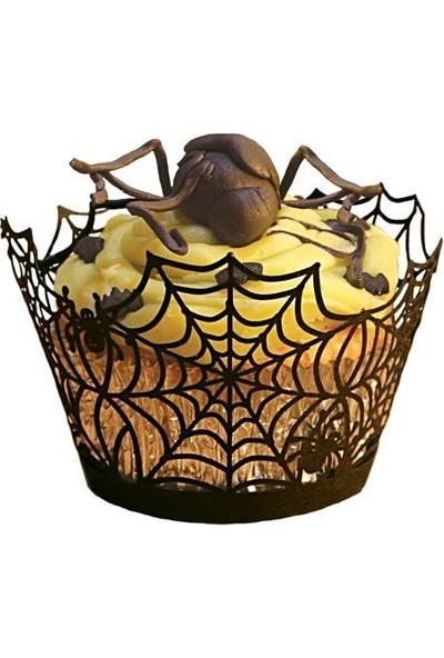 Pasta Cumhuriyeti Örümcek Ağı temalı Cadılar Bayramı Halloween Muffin Cupcake Kenar Danteli 10lu