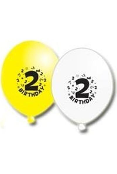 Partici 2 Yaş Happy Birthday Yazılı Balon - 10'lu