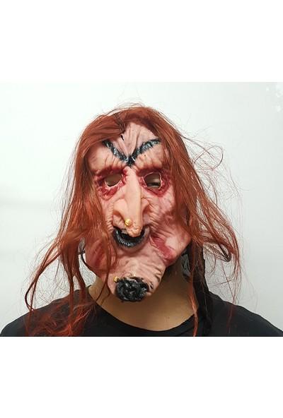 Samur Halloween Cadılar Bayramı Turuncu Saçlı Cadı Maskesi