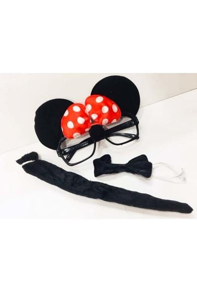Samur Minnie Mouse Gözlüğü Papyonu Kuyruğu Seti