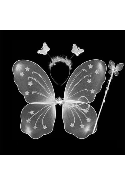 Samur Kelebek Kanat Seti Beyaz Renk