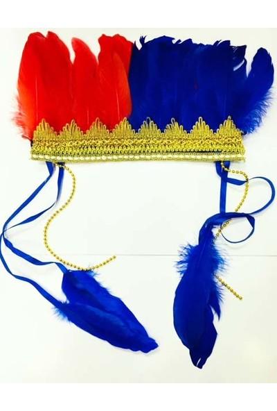 Samur Renkli Kızılderili Başlığı Tüylü Bordo Mavi