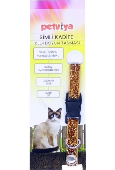Petviya Simli Kadife Kedi Boyun Tasması Parlak Doku