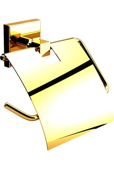 Defne Tuvalet Kağıtlık Altın Renkli Kapaklı