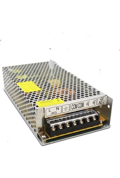 Polaxtor Adaptör 12V 20A Metal Kasa 12 Volt 20 Amper Şerit Led Güvenlik Kamerası Adaptörü