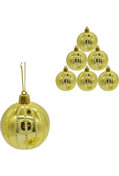Can Yılbaşı Ağacı Süsü 6lı Nokta Çizgili Cici Top Gold 6cm