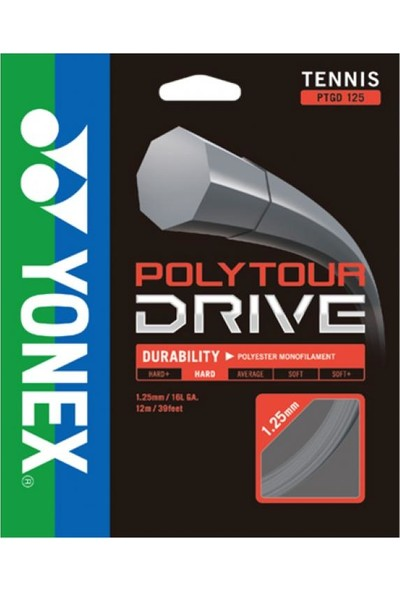 Yonex Poly Tour Drive 1.25 (12M) Tenis Kordaji Gri