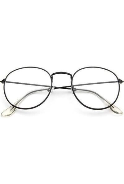 Jwl İnce Oval Çerçeve Moda Tarz Gözlük Unisex Aksesuar Siyah