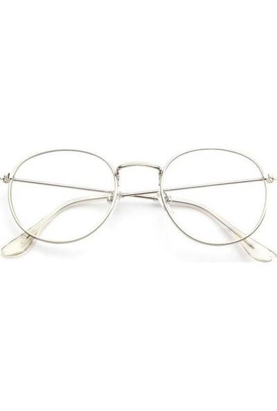 Jwl İnce Oval Çerçeve Moda Tarz Gözlük Unisex Aksesuar Gri