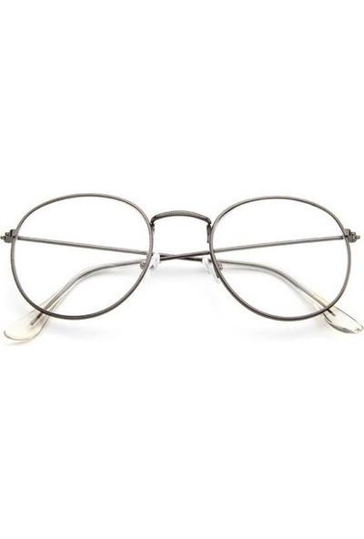 Jwl İnce Oval Çerçeve Moda Tarz Gözlük Unisex Aksesuar Koyu Gri