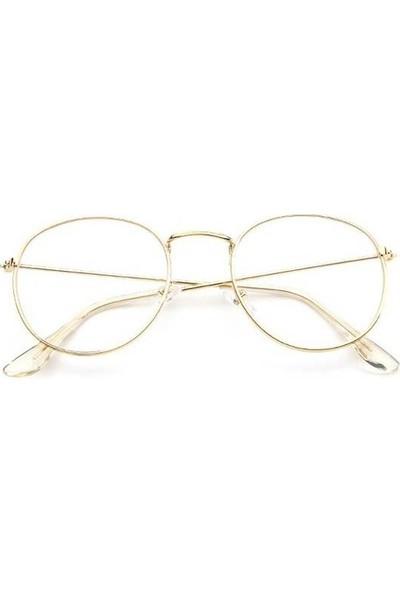 Jwl İnce Oval Çerçeve Moda Tarz Gözlük Unisex Aksesuar Altın Dore