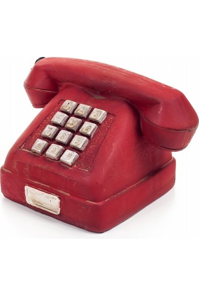 Decotown Nostaljik Kırmızı Telefon Biblo
