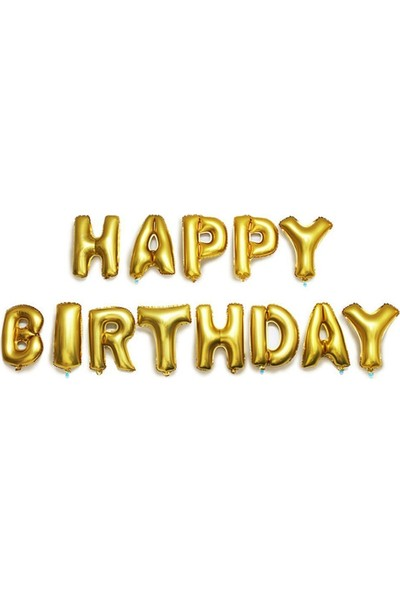Kbk Market Altın Renk Happy Birthday Folyo Harf Balon Seti