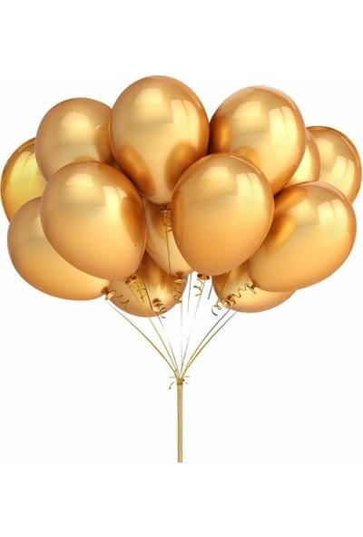 KBK Market 25 Adet Metalik Lateks Balon Altın Renk