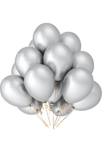 KBK Market 25 Adet Metalik Lateks Balon Gümüş Renk