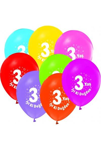 KBK Market 3 Yaş Baskılı Doğum Günü Balonu Karışık Renk 10 Adet