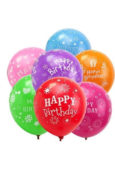 KBK Market Happy Birthday Baskılı Lateks Balon Karışık Renk 25 Adet