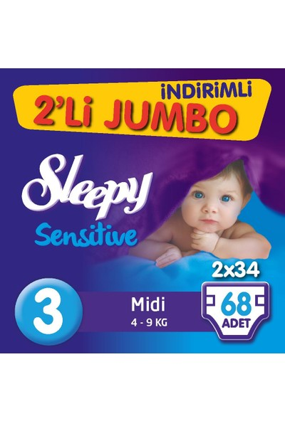 Sleepy Bebek Bezi İkili Jumbo 3 Beden 68 adet