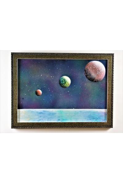 Can Pulat Akrilik Uzay Temalı Dekoratif Çerçeveli Tablo