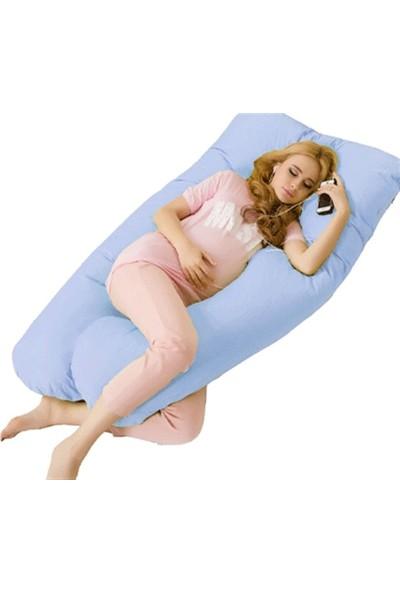 Hamile Yastığı 5 Bölge Destekli Hamile Destek Yastığı - Mavi [ÇANTALI]