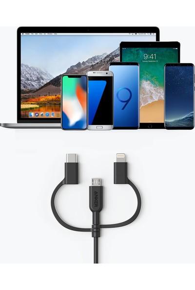 Anker Powerline II 3in1 Lightning + Type-C + Micro USB to USB 2.0 Dayanıklı MFI Lisanslı Data ve Şarj Kablosu - Siyah - 0.9m - A8436011