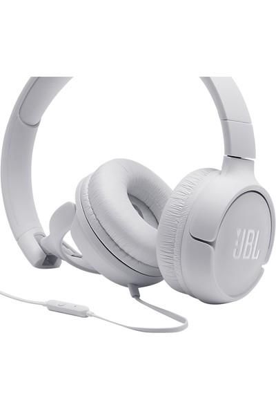 JBL T500 Mikrofonlu Kablolu Kulaküstü Beyaz Kulaklık